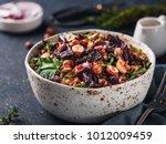 warm buckwheat and beetroot...   Shutterstock . vector #1012009459