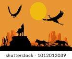 desert wildlife silhouettes ... | Shutterstock .eps vector #1012012039