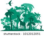jungle animals  wildlife jungle ... | Shutterstock .eps vector #1012012051
