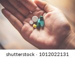 the hand is spread out and... | Shutterstock . vector #1012022131