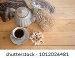 tea set is gray on a wooden... | Shutterstock . vector #1012026481