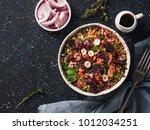 warm buckwheat and beetroot... | Shutterstock . vector #1012034251