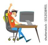 caucasian white teenage gamer... | Shutterstock .eps vector #1012038901