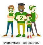 group of multiracial sport fans ... | Shutterstock .eps vector #1012038907