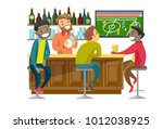 young cheerful multiethnic... | Shutterstock .eps vector #1012038925