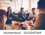 multiracial group of... | Shutterstock . vector #1012045369