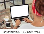 female s hands keyboards on...   Shutterstock . vector #1012047961