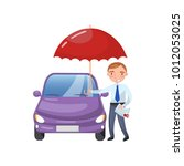 insurance agent standing with... | Shutterstock .eps vector #1012053025