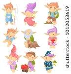cute troll characters set ... | Shutterstock .eps vector #1012053619