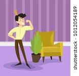 modern prince in golden crown... | Shutterstock .eps vector #1012054189