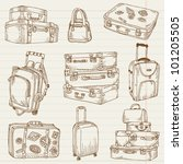 set of vintage suitcases   for... | Shutterstock .eps vector #101205505