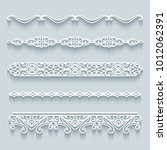 vector set of lace border... | Shutterstock .eps vector #1012062391