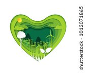 green heart with eco city... | Shutterstock .eps vector #1012071865