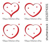 set of four red heart with... | Shutterstock .eps vector #1012074331