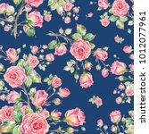 watercolor seamless rose... | Shutterstock . vector #1012077961