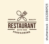 restaurant   vector logo icon... | Shutterstock .eps vector #1012080925