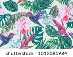 floral seamless vector tropical ... | Shutterstock .eps vector #1012081984