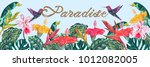 tropical flowers  hummingbirds  ... | Shutterstock .eps vector #1012082005