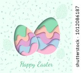 happy easter greeting card. 3d... | Shutterstock .eps vector #1012086187