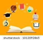 open book with set elements... | Shutterstock .eps vector #1012092865