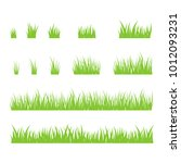 silhouettes of green grass ... | Shutterstock .eps vector #1012093231