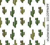 seamless green cactus pattern ... | Shutterstock .eps vector #1012099699