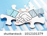 business agreement. handshake... | Shutterstock . vector #1012101379