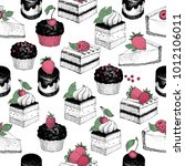 seamless pattern with sweet... | Shutterstock .eps vector #1012106011