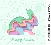 happy easter greeting card. 3d... | Shutterstock .eps vector #1012110907