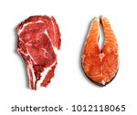 fresh meat beef and fish  | Shutterstock . vector #1012118065