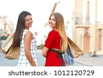 back view of beautiful girls...   Shutterstock . vector #1012120729