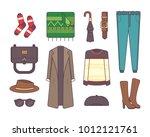 big set of stylish winter... | Shutterstock .eps vector #1012121761