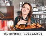 woman making coffee by coffee...   Shutterstock . vector #1012122601