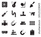 solid black vector icon set  ... | Shutterstock .eps vector #1012123045