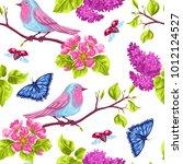spring garden seamless pattern. ... | Shutterstock .eps vector #1012124527