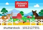 animals farm with horse cow pig ...   Shutterstock .eps vector #1012127551