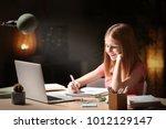 teenage girl with laptop doing... | Shutterstock . vector #1012129147