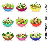 various salads set  vegetable ... | Shutterstock .eps vector #1012129564