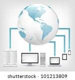 Global Concept. Laptop on Grey Gradient Background. Vector. - stock vector