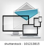 Mail Concept on Grey Mesh Background. Vector. - stock vector