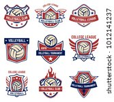 volleyball emblems on white... | Shutterstock .eps vector #1012141237