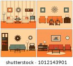 retro room interior. vector.... | Shutterstock .eps vector #1012143901