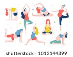 yoga for pregnant women vector...   Shutterstock .eps vector #1012144399