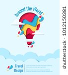 around the world paper art... | Shutterstock .eps vector #1012150381