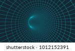 wireframe 3d surface tunnel... | Shutterstock .eps vector #1012152391