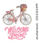 pink bicycle carrying a bouquet ... | Shutterstock .eps vector #1012161499