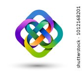 four multicolored intertwined... | Shutterstock .eps vector #1012168201