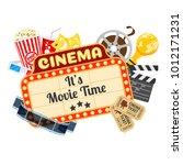 cinema and movie time concept... | Shutterstock .eps vector #1012171231