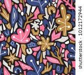 terrazzo seamless pattern.... | Shutterstock .eps vector #1012172944