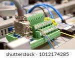 blurred and de focus electrical ... | Shutterstock . vector #1012174285